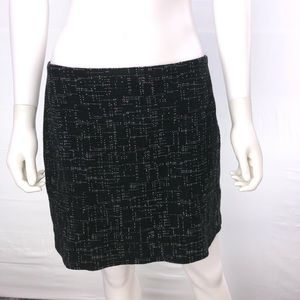 Theory 6 Black Double Layered Straight Skirt